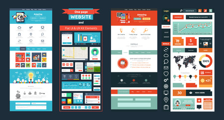 Illustration pour Website page template. Web design. Set of web page with icons for different websites in flat style. One page website flat ui and ux kit elements icons - image libre de droit