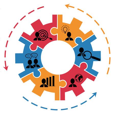 Illustration pour Concept of project management business plan with gear and pictograms - image libre de droit
