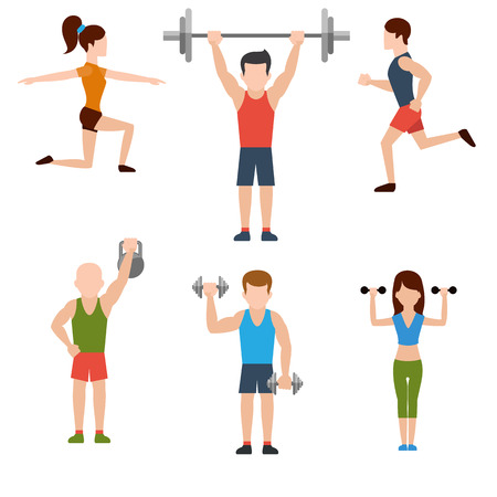 Icons set of man and woman doing warm-up and exercises with