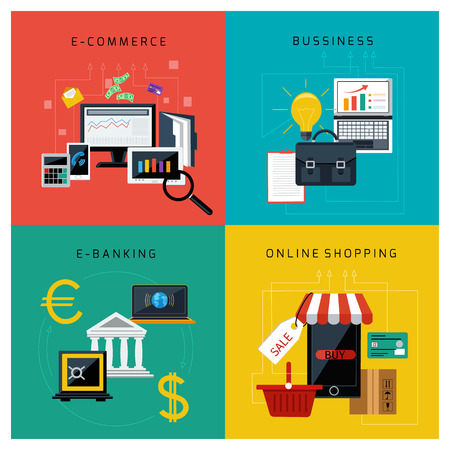 Concept set for e commerce, online banking, business and online shopping flat design