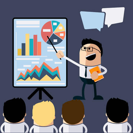 Meeting businessman pointing presentation infogarhics board concept in flat design style cartoon. Business man pointing presentation board with graph charts