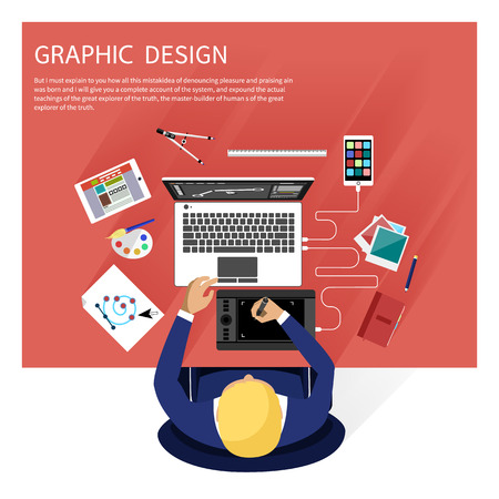 Concept for graphic design, designer tools and software in flat design with computer surrounded designer equipment and instruments. Top view of designer draws on tablet at desk
