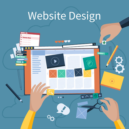 Website design concept. Hands that design web site with different blocks. Tablet pc interface. Big Touch pad buttons in flat design style