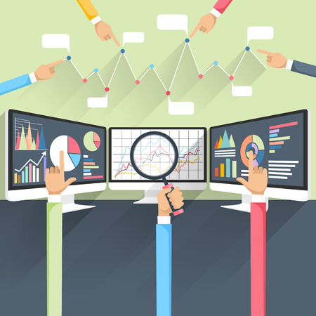 Illustration for Price movement. Stock exchange rates on monitors. Profit graph for diagram. Electronic stock numbers. Profit gain. Business stock exchange. Live online screen. Flat icon modern design style concept - Royalty Free Image