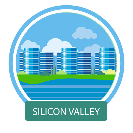 Illustration pour Silicon Valley sign. Office building in Silicon Valley. Poster concept in cartoon style with text - image libre de droit