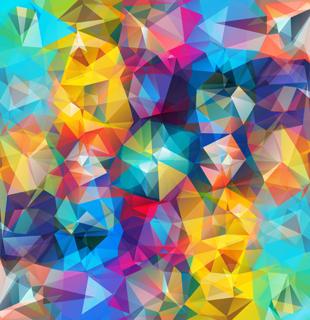 Photo pour Abstract geometric background. Multicolored triangles. Beautiful inscription. Triangle background with bright lines. Pattern of crystal geometric shapes. Multicolor mosaic banner - image libre de droit