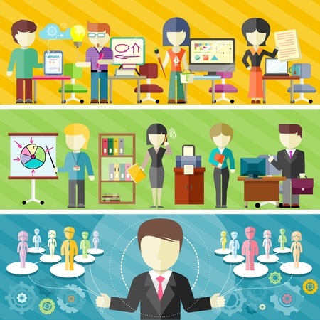 Dynamic business team concept in flat design. Teamwork in office, freelance concepts on banners. Main project manager manages teamwork
