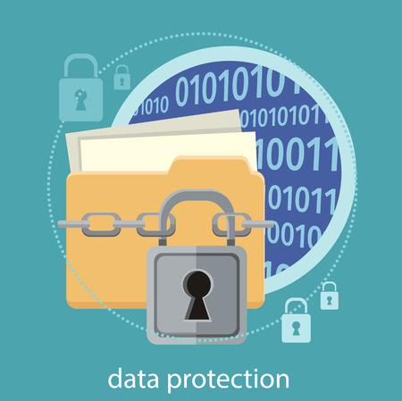 Yellow folder and lock. Data security concept. Data protection and safe work. Concept in flat design style. Can be used for web banners, marketing and promotional materials, presentation templates