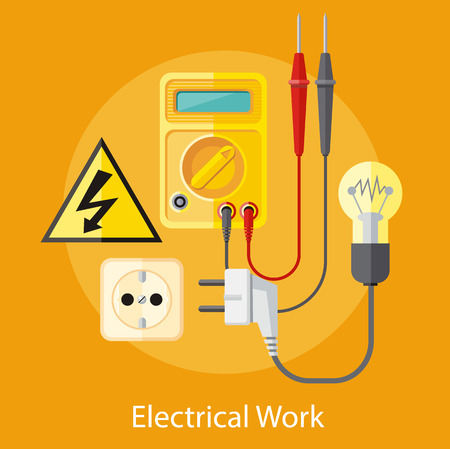 Electrical work. Socket with devices for the analysis of electrical network. Device for test. Flat icon modern design style concept