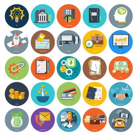 Set of business icons concepts product presentation search investors, idea and other in flat design on banners. Can be used for web banners, marketing and promotional materials, presentation templates