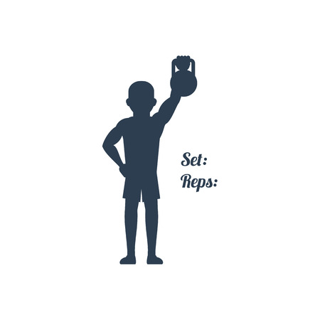 Sport silhouettes icon in black color on white background with text Set Reps. Atlete pulled up his left arm with kettlebell. For web construction, mobile applications, banners, brochures, books