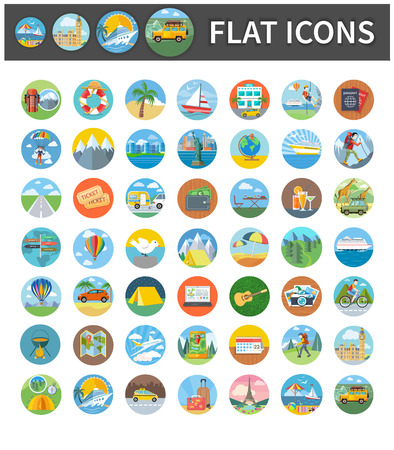 Illustration pour Set circle colorful icons of traveling, summer vacation, tourism and journey. Items in flat design. Different types of travel. Per click internet advertising in flat design - image libre de droit