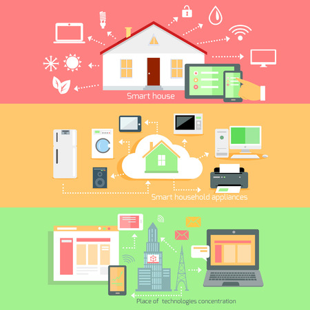 Remote wireless control of home appliances. Place technology concentration, household appliance, smart house, communication house system, automation interconnection, living service illustration