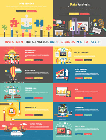 Concept of investment analysis of data and promotion. E-learning,  search engine optimization, air tourism, online education, training professional, seo, social media and finance illustration