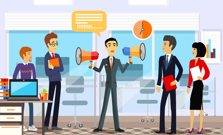 Head of the company with employees. Leadership announcement, loudspeaker and announce, speaking message, business manager,  professional people illustration