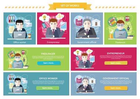 Set of concept work employed freelancer. Government official, office worker, employment and entrepreneur, business job, career and entrepreneurship, workspace illustration