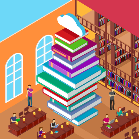 Illustration pour Isometric library. Stack books. Concept knowledge. Education and study, learn university, people read, shelf and heap literature, reading and reader illustration - image libre de droit
