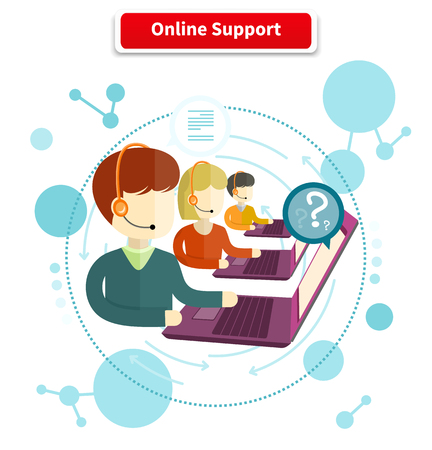 Illustration pour Online support. 24h all the time customer support center via phone mail operator service icons concept. Support, online chat, online help, online, live chat, live support, customer service - image libre de droit