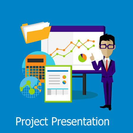 Illustration pour Project presentation concept design style. Project management, project plan, project icon, business presentation, meeting or conference or seminar, office projection, information show illustration - image libre de droit