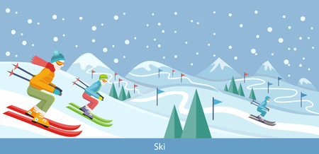 Skiing winter landscape design. Skier on snow, ski and winter, cold and sky, outdoor mountain, sport season, extreme hill, vacation and weather, resort activity, snowy natural environment illustration