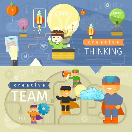 Creative thinking and creative team. Creative concept, creative ideas, creative design, creative background, creative people, design team, idea and business, teamwork illustration