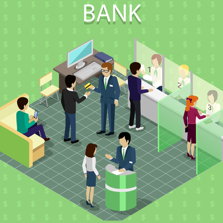 Isometric interior of the bank with people.