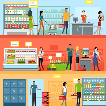 Illustration for People in supermarket interior design. People shopping, supermarket shopping, marketing people, market shop interior, customer in mall, retail store illustration - Royalty Free Image
