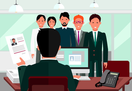 Illustration pour Hiring recruiting interview. Look resume applicant employer. Hands Hold CV profile choose from group of business people.  - image libre de droit