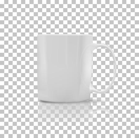 Ilustración de Cup or mug white color. Object coffee or tea, ceramic utensil, beverage breakfast, refreshment caffeine, handle container, realistic glossy elegance cup. Cup icon. Transparent background - Imagen libre de derechos