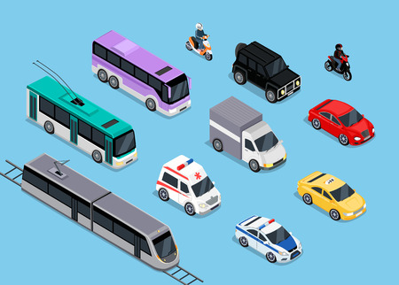 Isometric 3d transport set flat design. Car vehicle, transportation traffic, truck van, auto cargo, bus and automobile, police and motorcycle illustration