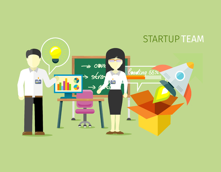 Startup team people group flat style. Startup business, entrepreneurship and small business, company office teamwork, professional worker illustration