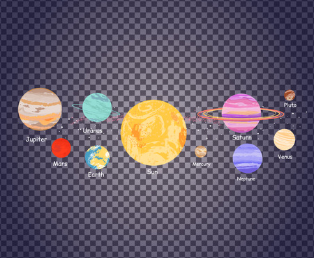 Illustration pour Solar system icon flat design style transparent. Earth planet, space and sun, science astronomy, galaxy and saturn, jupiter and venus, mars and mercury, uranus and neptune illustration on transparency - image libre de droit