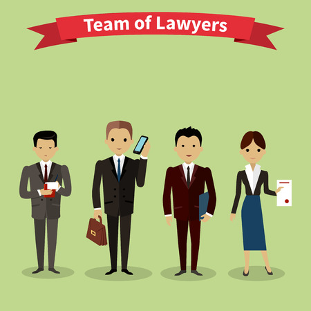 Illustration pour Lawyers team people group flat style. Law firm, attorney and lawyer office, legal and teamwork, work executive manager, partner authority, jurist or advocate illustration - image libre de droit