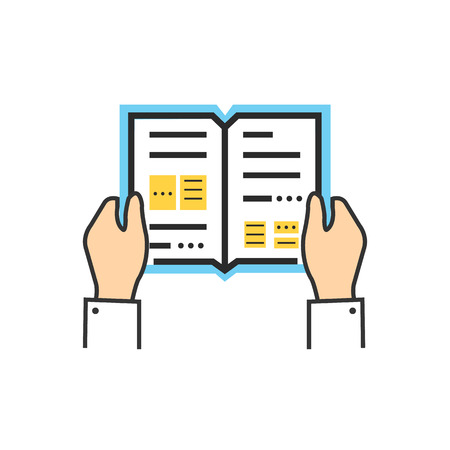 Illustration for Reading book encyclopedia textbook icon flat. Reading book, man reading book. Book reader sign icon. Person reading book. Read book isolated icon. Hands hold book. Reading book illustration - Royalty Free Image