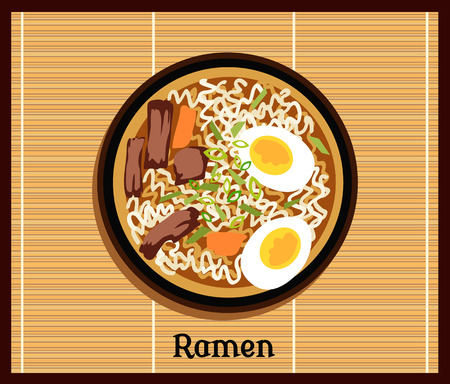 Japanese ramen. Vintage cartoon ramen noodles poster design with noodle and hot soup. Japanese noodle Ramen. Tonkotsu ramen.Pork bone ramen. Japanese food. Japanese ramen icon. Vector Japanese Ramen