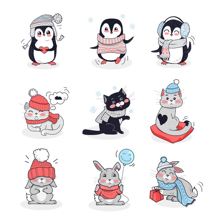 Illustration for Set animals in warm clothes design flat. Rabbit and penguin, animals vector, cartoon animals, animal clothing scarf, bunny wear in warm hat, bunny clothing comfort, animal hare and kitten illustration - Royalty Free Image