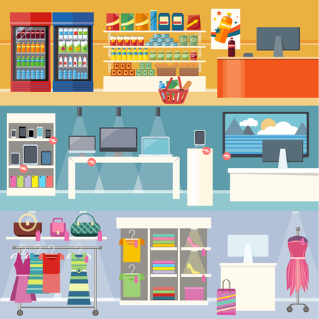 Ilustración de Interiors stores clothes, technology and food. Smartphone and clothing, grocery market, retail and supermarket, business and shopping, consumerism shop illustration. Supermarket interior. Retail store - Imagen libre de derechos