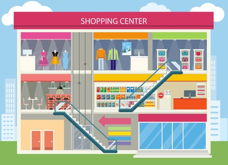 Shopping center buiding design. Shopping mall, shopping center interior, restaurant and boutique, store and shop, architecture retail, urban structure commercial illustration