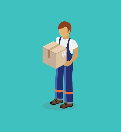 Illustration pour Isometric man delivery of box isolated design. 3D Delivery man, delivery icon, free delivery, courier service delivery, business delivery, box parcel, postman delivery express, delivery package - image libre de droit
