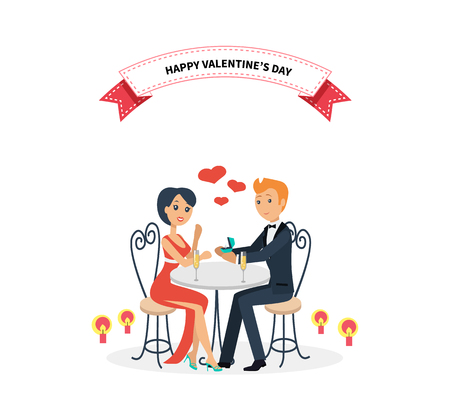 Foto per Happy valentine day couple sitting at table. Couple lover on valentine day, happy valentine, couple in love, young couple, love happy couple, woman man restaurant, holiday valentine day illustration - Immagine Royalty Free