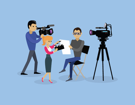 Camera crew team people group flat style. Film crew, camera man, tv crew, video camera, television teamwork, recording movie, production studio illustration. Camera crew vector concept