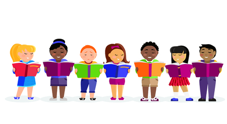 Illustration pour Group of kids studying and learning together. Boys and girl reading books. Various nationalities students reading books. Reading kid. Reading student. Kid reading open book. back to school - image libre de droit