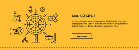 Icons for management, business tools in flat design. Poster banner on yellow. Management and marketing, lead and manage, effective management, leadership business, management icon, business management