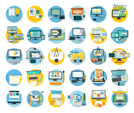 Illustration for Set of web design icon flat concept. Web and design, icon and website, website design, web template, web designer, web design elements, technology development design. digital design illustration - Royalty Free Image