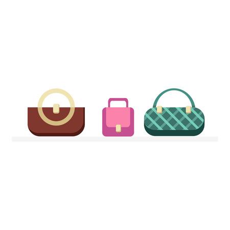 Illustration pour Set of handbags design flat isolated. Bag fashion designer handbag, woman handbag, fashion purse, elegance accessory, leather handbags glamour set vector illustration - image libre de droit