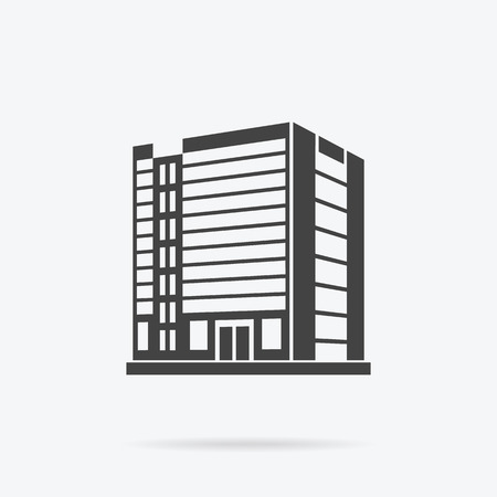 Illustration for Skyscraper logo building icon. Black building and isolated skyscraper, tower and office city architecture, house business building logo, apartment office vector illustration - Royalty Free Image