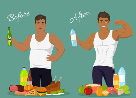 Illustration for Figure of a man before and after weight loss, figure boy before and after, diet body man before and after vector illustration. Fat man in front of fast food. Man with sports figure near healthy food - Royalty Free Image
