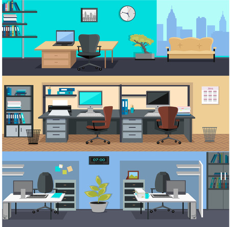 Set of modern office interior with designer desktop in flat design. Interior office room. Office space. Vector illustration. Working place in office interior workplace