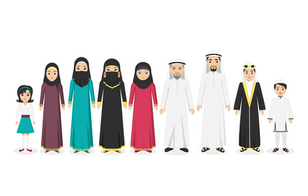 Illustration pour Arabian family people in national clothes design flat. Arabian man and family, arabesque or islamic people, muslim arabic family, boy arab, parent islam, man woman and children. Vector illustration - image libre de droit