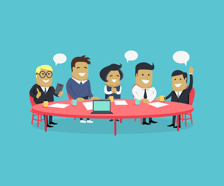 Illustration pour Meeting and discussion briefing. Business meeting, conference and meeting room, business presentation, office teamwork, team corporate, workplace discussing illustration. Strategy team brainstorm - image libre de droit